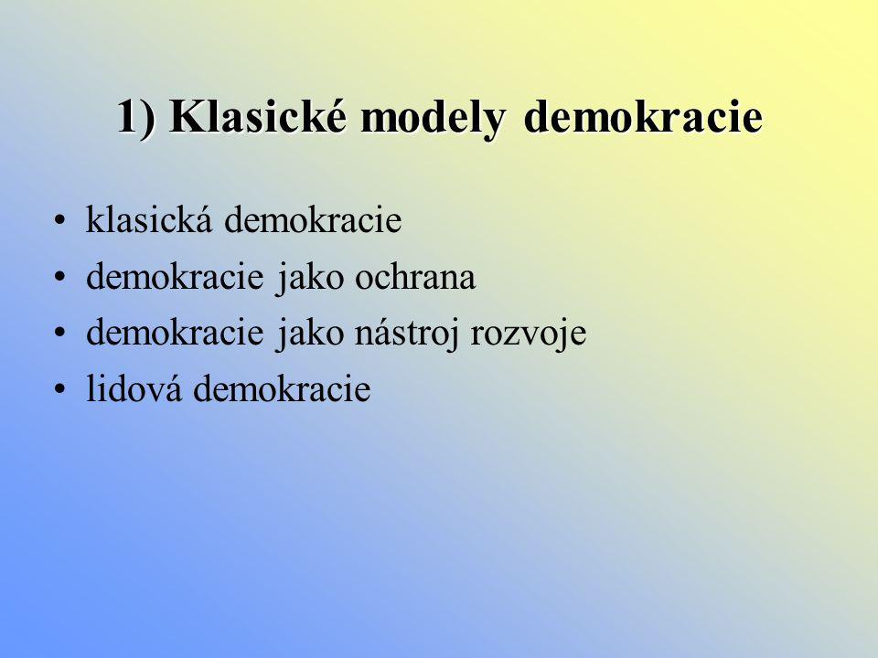 1) Klasické modely demokracie