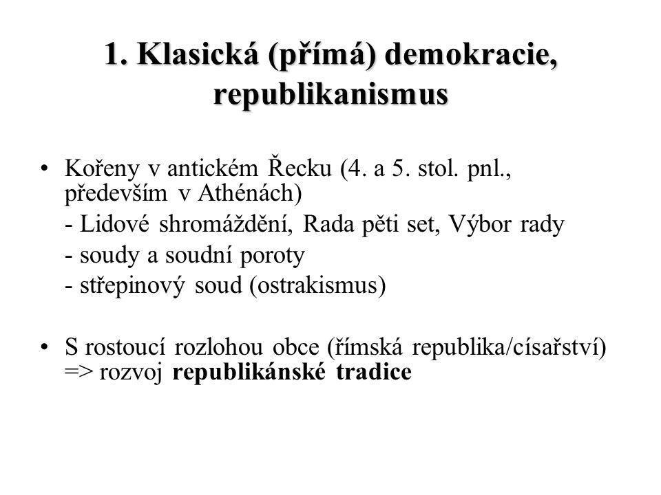 1. Klasická (přímá) demokracie, republikanismus