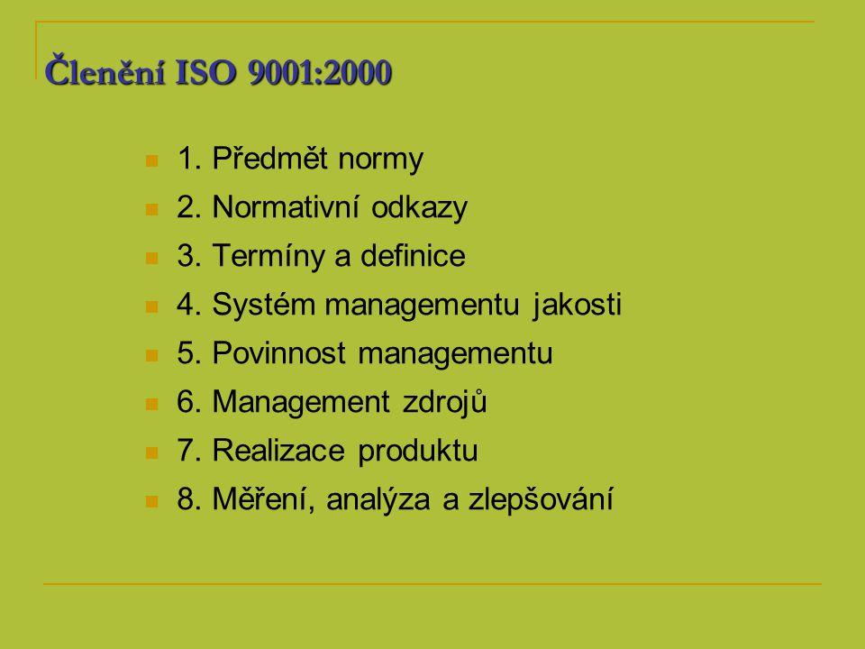 Členění ISO 9001:2000 1. Předmět normy 2. Normativní odkazy