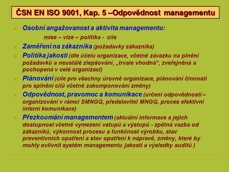 ČSN EN ISO 9001, Kap. 5 –Odpovědnost managementu