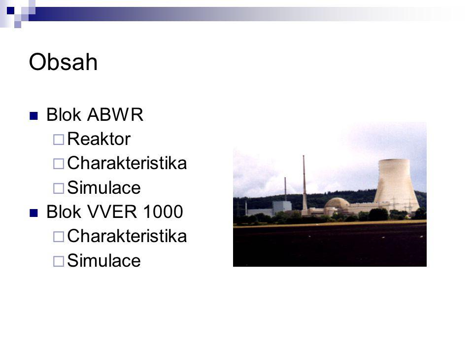 Obsah Blok ABWR Reaktor Charakteristika Simulace Blok VVER 1000