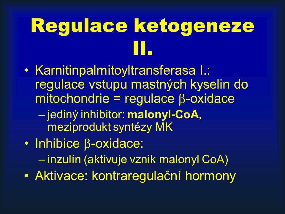 Regulace ketogeneze II.