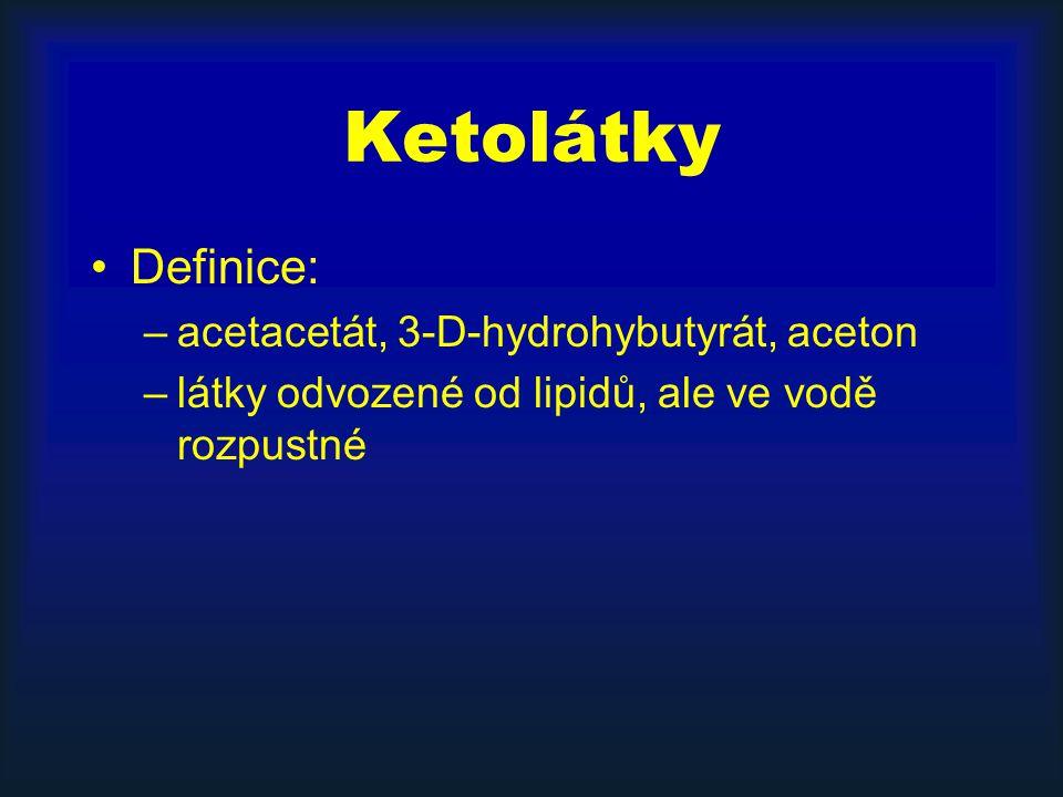 Ketolátky Definice: acetacetát, 3-D-hydrohybutyrát, aceton