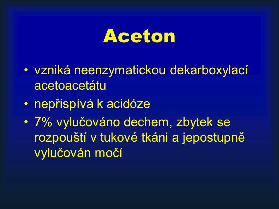 Aceton vzniká neenzymatickou dekarboxylací acetoacetátu