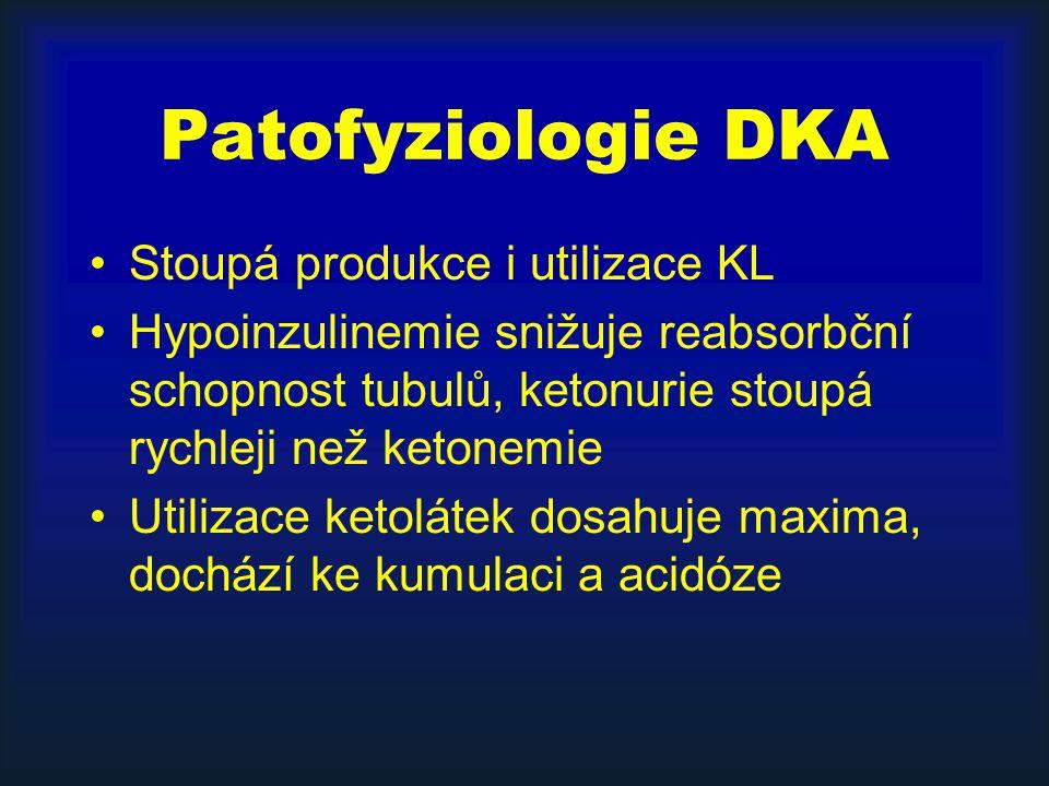 Patofyziologie DKA Stoupá produkce i utilizace KL