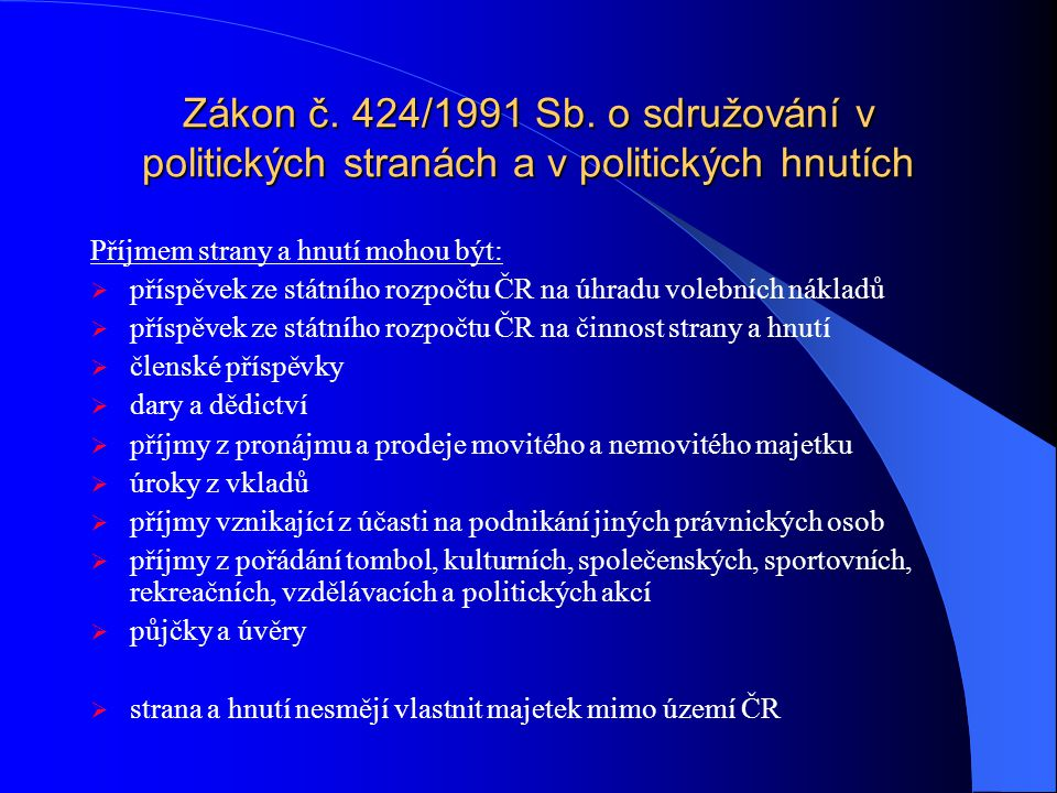Zákon č. 424/1991 Sb. o sdružování v politických stranách a v politických hnutích