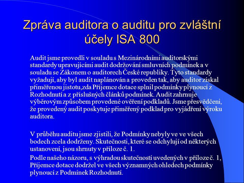 Zpráva auditora o auditu pro zvláštní účely ISA 800