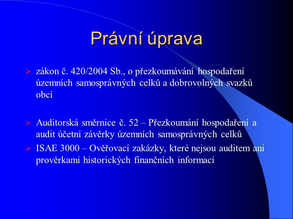 Právní úprava zákon č. 420/2004 Sb., o přezkoumávání hospodaření územních samosprávných celků a dobrovolných svazků obcí.