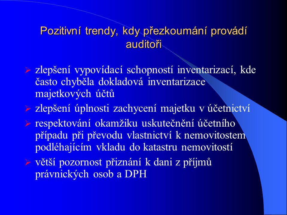 Pozitivní trendy, kdy přezkoumání provádí auditoři