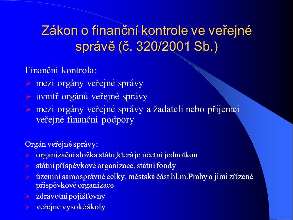 Zákon o finanční kontrole ve veřejné správě (č. 320/2001 Sb.)