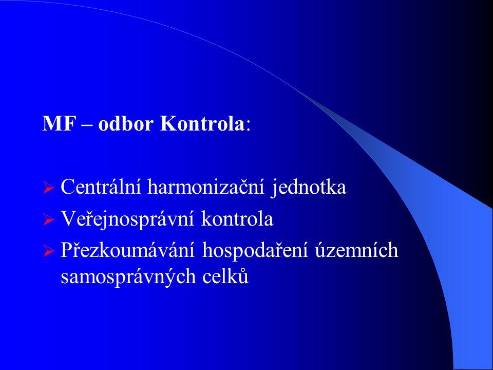 MF – odbor Kontrola: Centrální harmonizační jednotka.