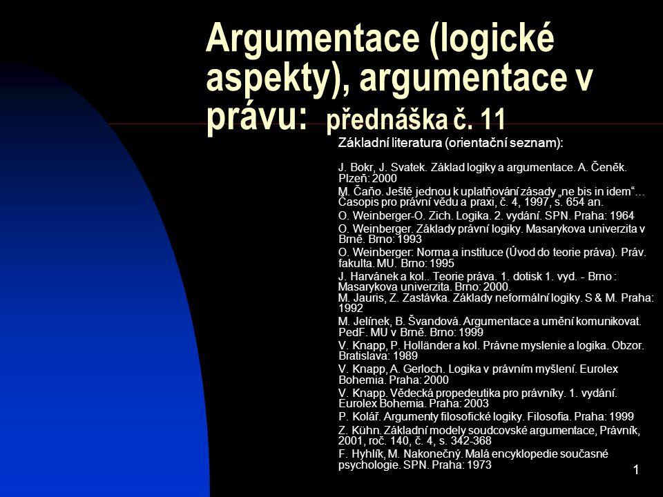 Argumentace (logické aspekty), argumentace v právu: přednáška č. 11