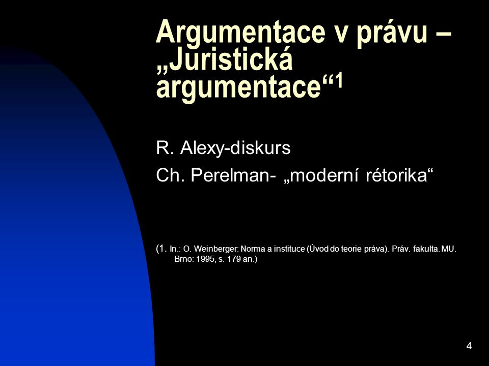 """Argumentace v právu – """"Juristická argumentace 1"""