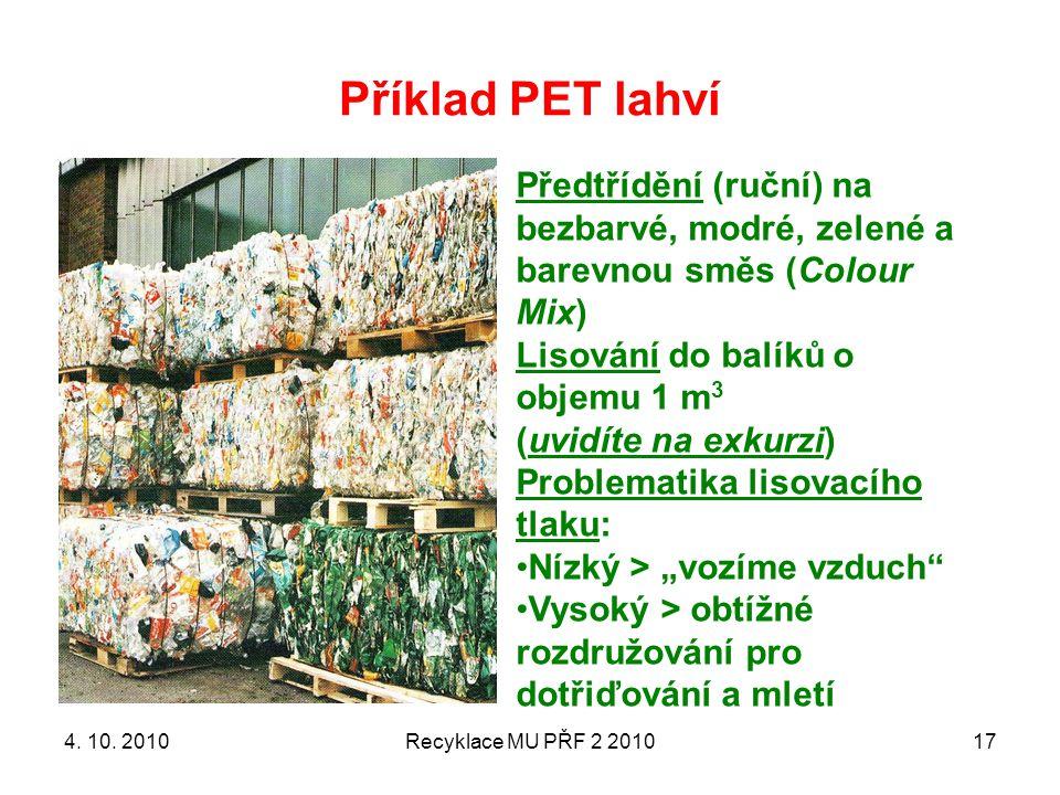 Příklad PET lahví Předtřídění (ruční) na bezbarvé, modré, zelené a barevnou směs (Colour Mix) Lisování do balíků o objemu 1 m3.
