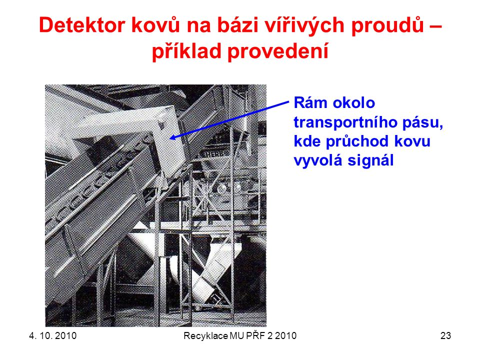 Detektor kovů na bázi vířivých proudů – příklad provedení
