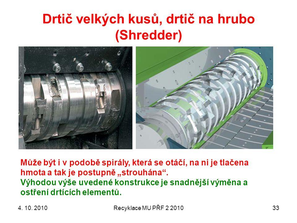 Drtič velkých kusů, drtič na hrubo (Shredder)