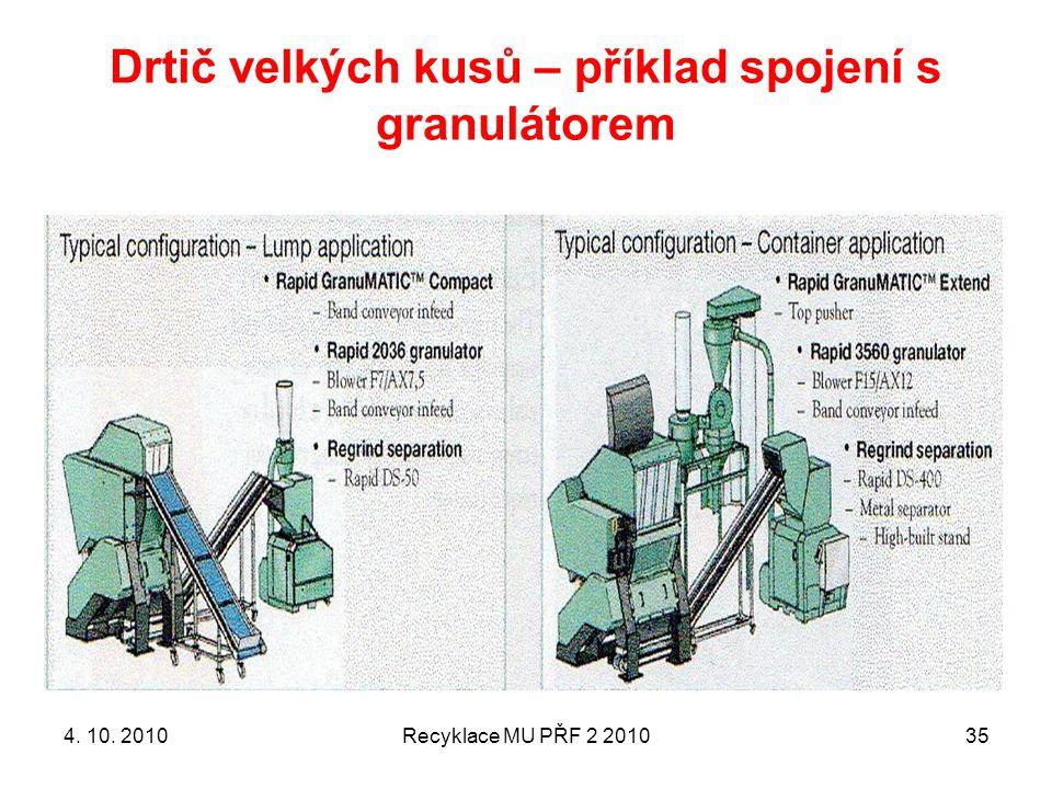Drtič velkých kusů – příklad spojení s granulátorem