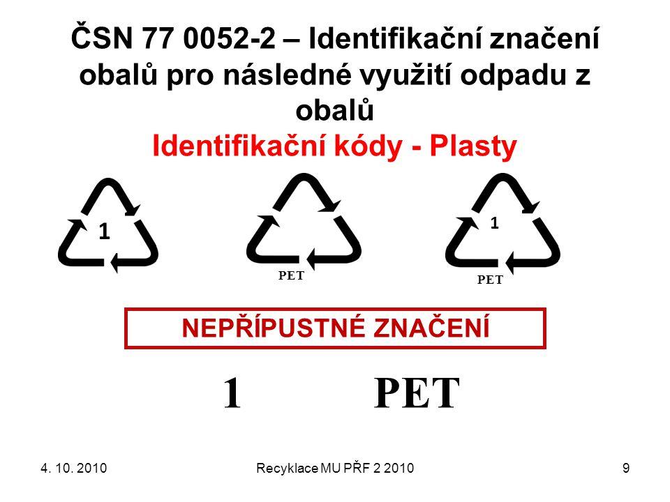 ČSN 77 0052-2 – Identifikační značení obalů pro následné využití odpadu z obalů Identifikační kódy - Plasty