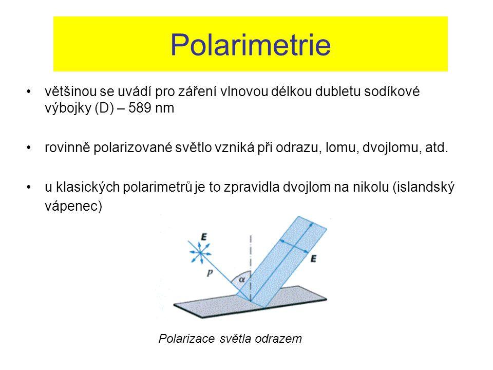 Polarimetrie většinou se uvádí pro záření vlnovou délkou dubletu sodíkové výbojky (D) – 589 nm.