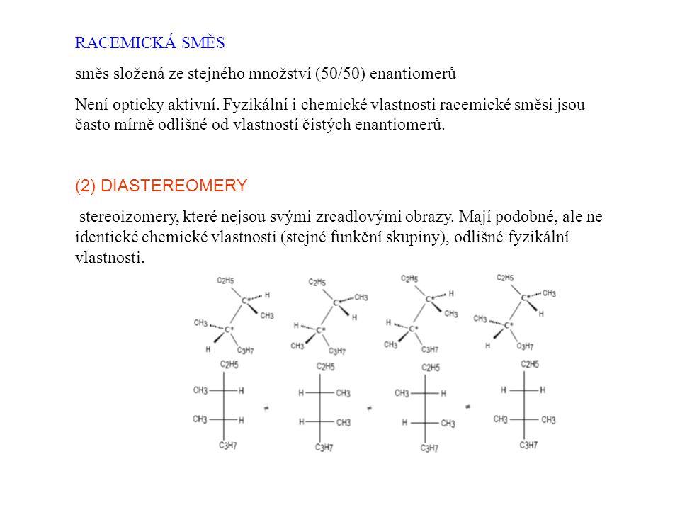 RACEMICKÁ SMĚS směs složená ze stejného množství (50/50) enantiomerů.