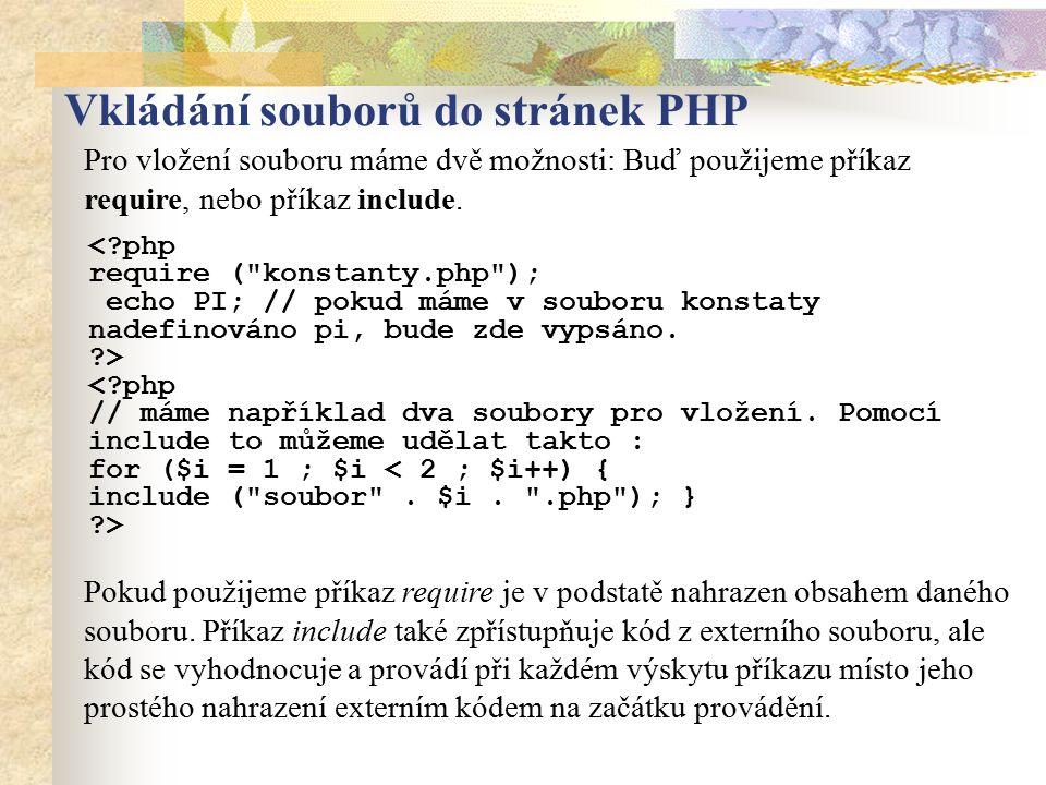 Vkládání souborů do stránek PHP
