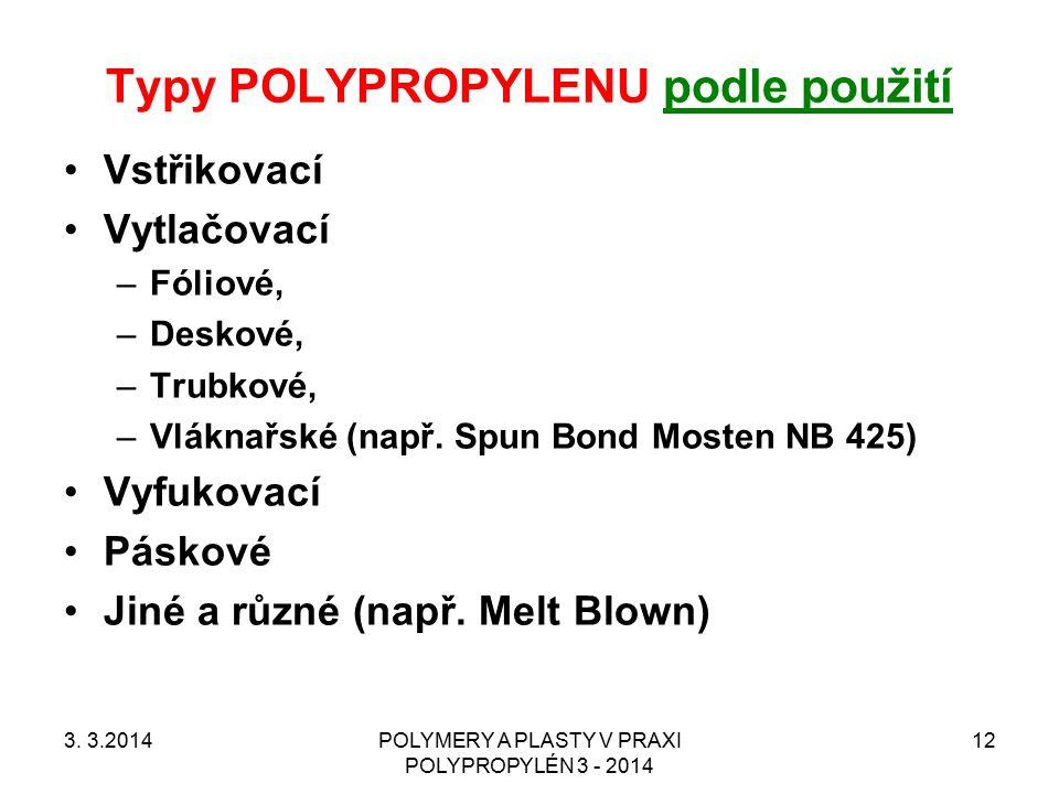 Typy POLYPROPYLENU podle použití