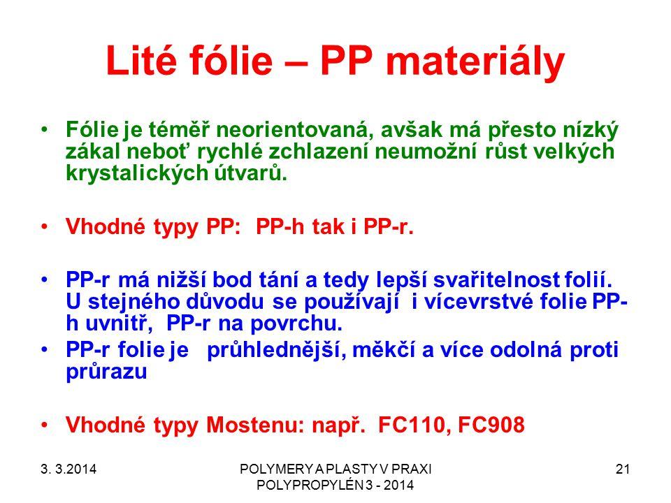 Lité fólie – PP materiály