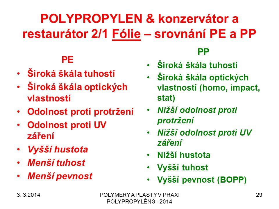 POLYPROPYLEN & konzervátor a restaurátor 2/1 Fólie – srovnání PE a PP