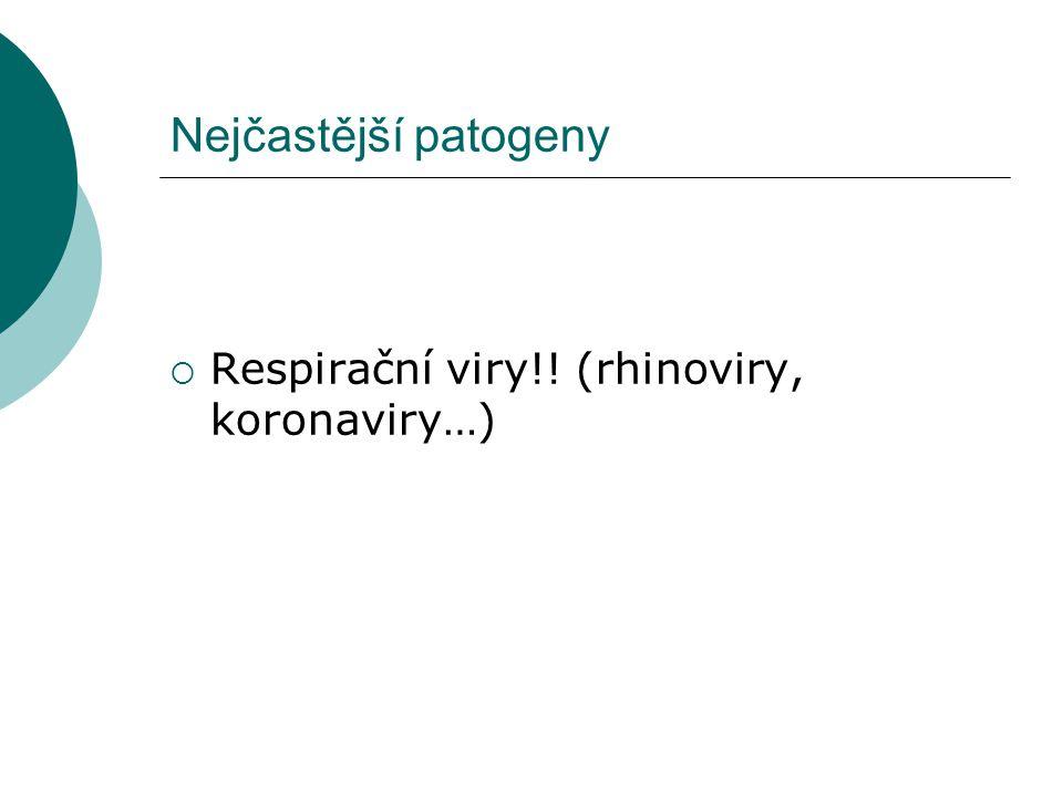 Nejčastější patogeny Respirační viry!! (rhinoviry, koronaviry…)