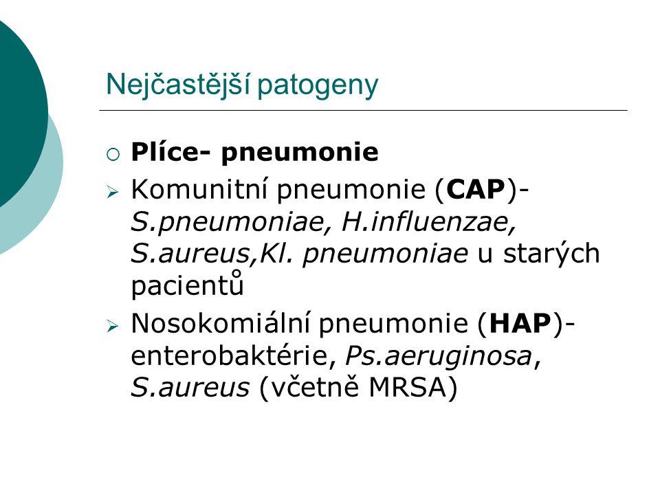 Nejčastější patogeny Plíce- pneumonie. Komunitní pneumonie (CAP)- S.pneumoniae, H.influenzae, S.aureus,Kl. pneumoniae u starých pacientů.