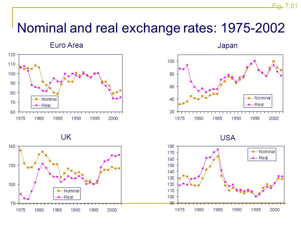 Nominal and real exchange rates: 1975-2002