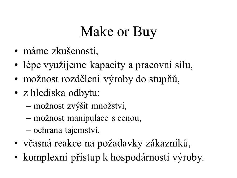 Make or Buy máme zkušenosti, lépe využijeme kapacity a pracovní sílu,