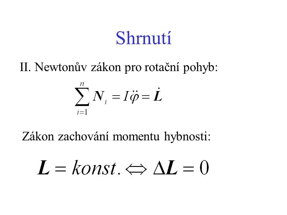 Shrnutí II. Newtonův zákon pro rotační pohyb: