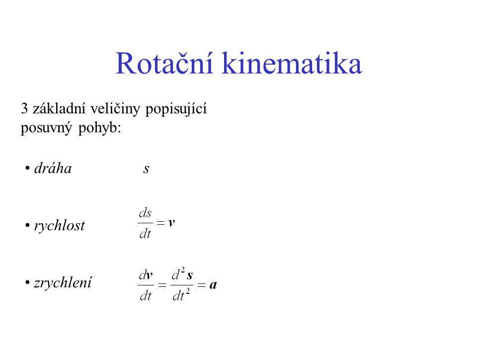 Rotační kinematika 3 základní veličiny popisující posuvný pohyb: