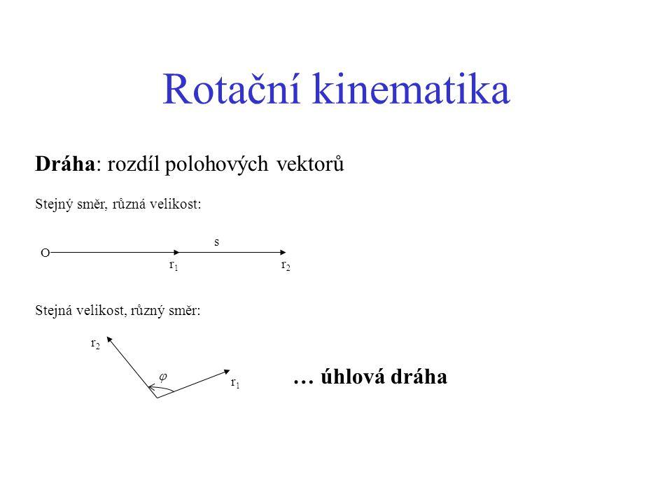 Rotační kinematika Dráha: rozdíl polohových vektorů … úhlová dráha