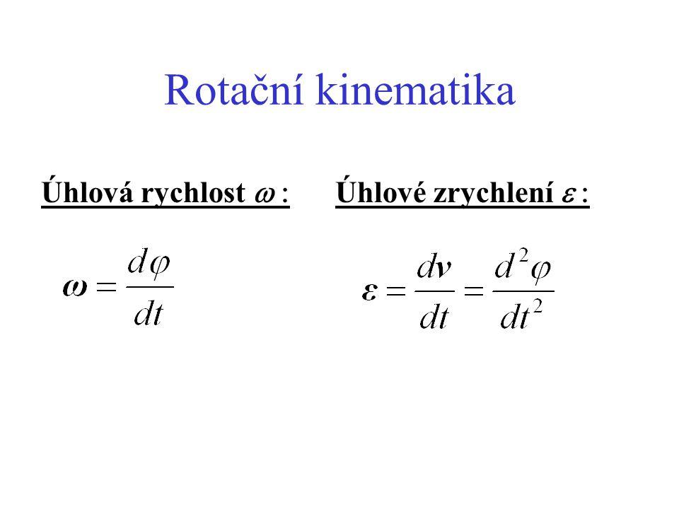 Rotační kinematika Úhlová rychlost w : Úhlové zrychlení e :