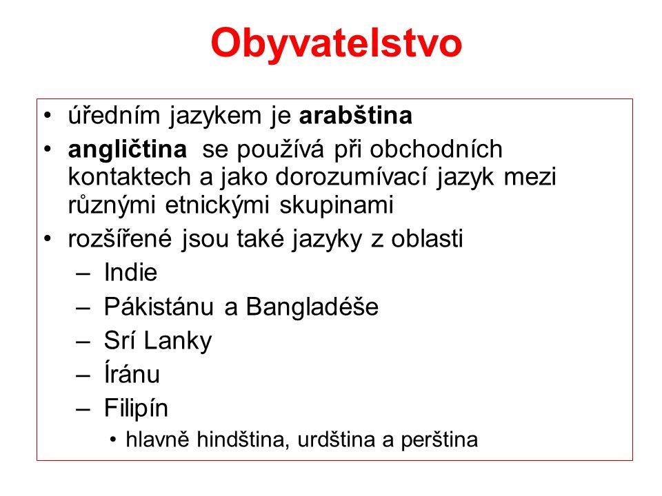 Obyvatelstvo úředním jazykem je arabština