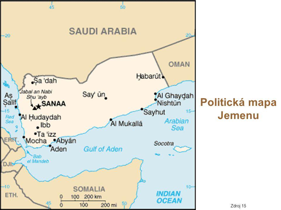 Politická mapa Jemenu Zdroj 15