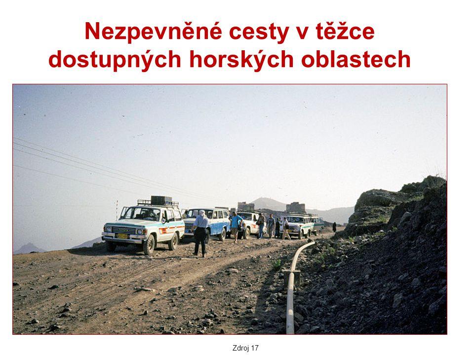 Nezpevněné cesty v těžce dostupných horských oblastech