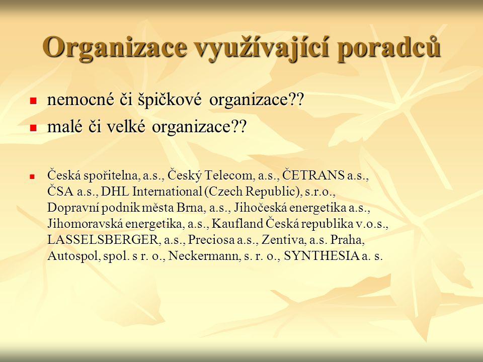 Organizace využívající poradců