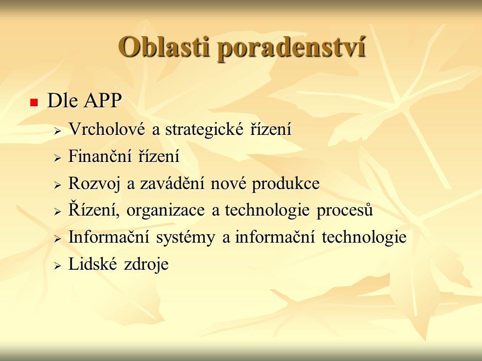 Oblasti poradenství Dle APP Vrcholové a strategické řízení