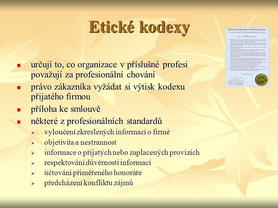Etické kodexy určují to, co organizace v příslušné profesi považují za profesionální chování.