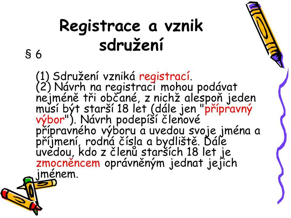 Registrace a vznik sdružení