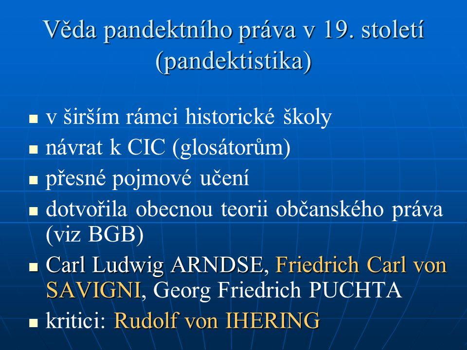 Věda pandektního práva v 19. století (pandektistika)