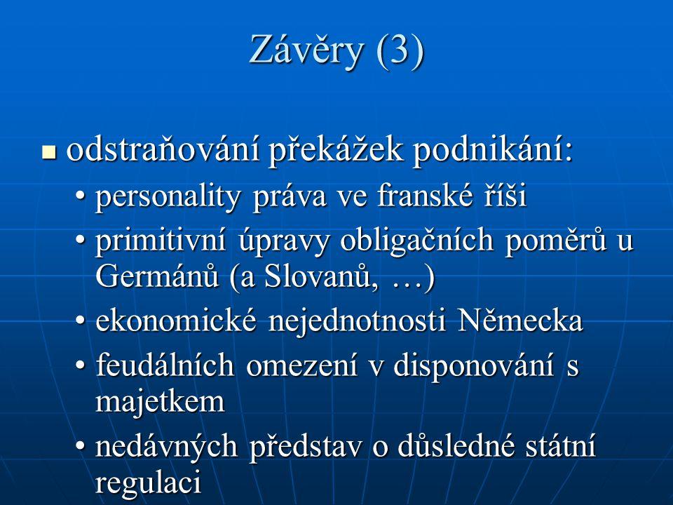 Závěry (3) odstraňování překážek podnikání: