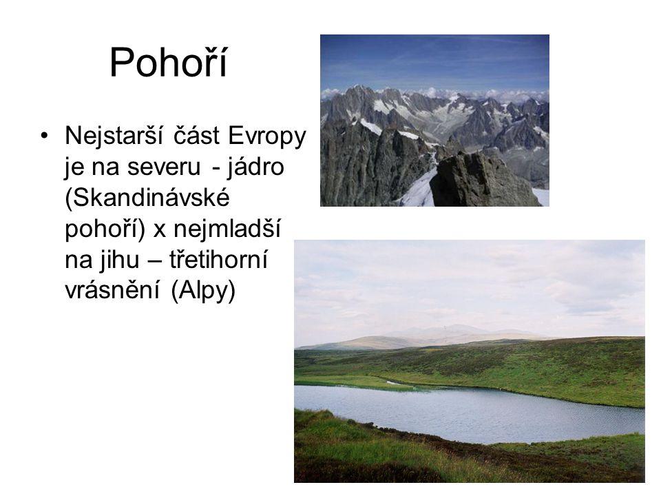 Pohoří Nejstarší část Evropy je na severu - jádro (Skandinávské pohoří) x nejmladší na jihu – třetihorní vrásnění (Alpy)