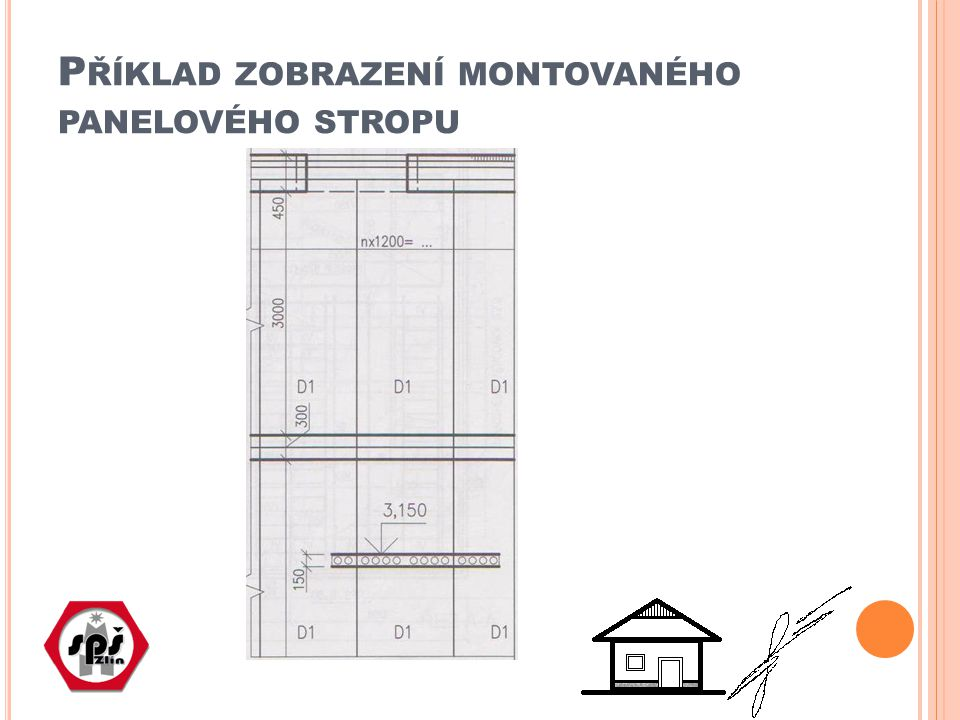 Příklad zobrazení montovaného panelového stropu