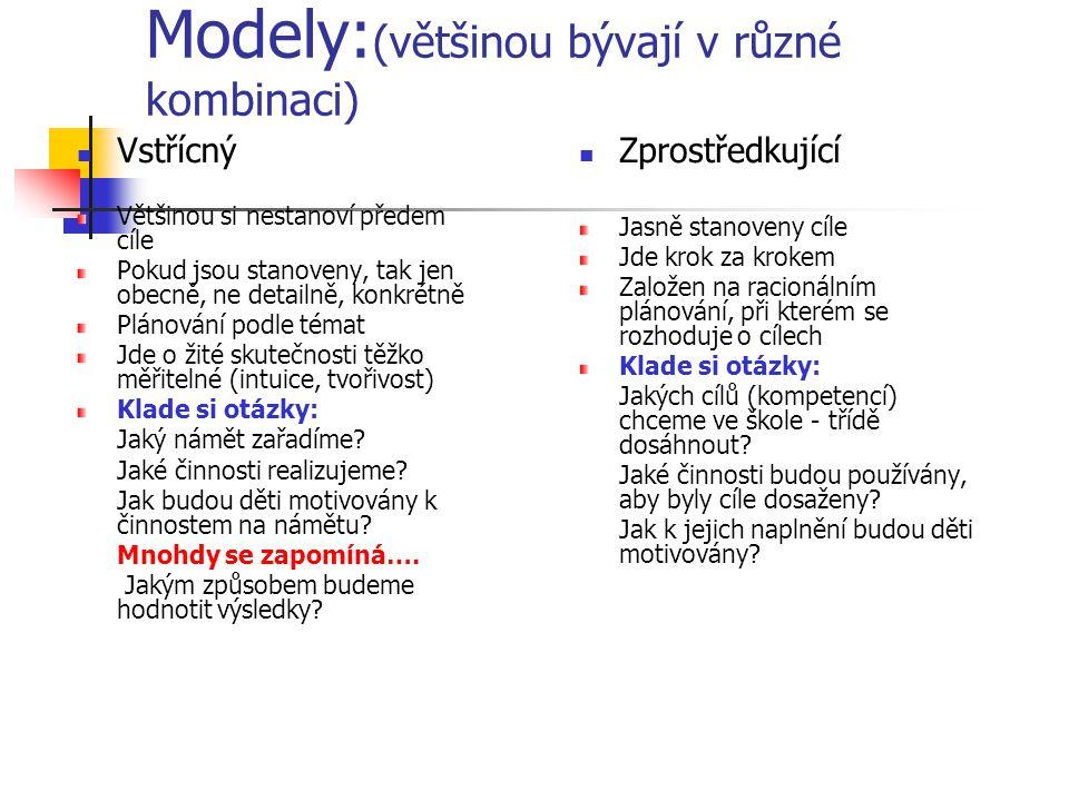 Modely:(většinou bývají v různé kombinaci)
