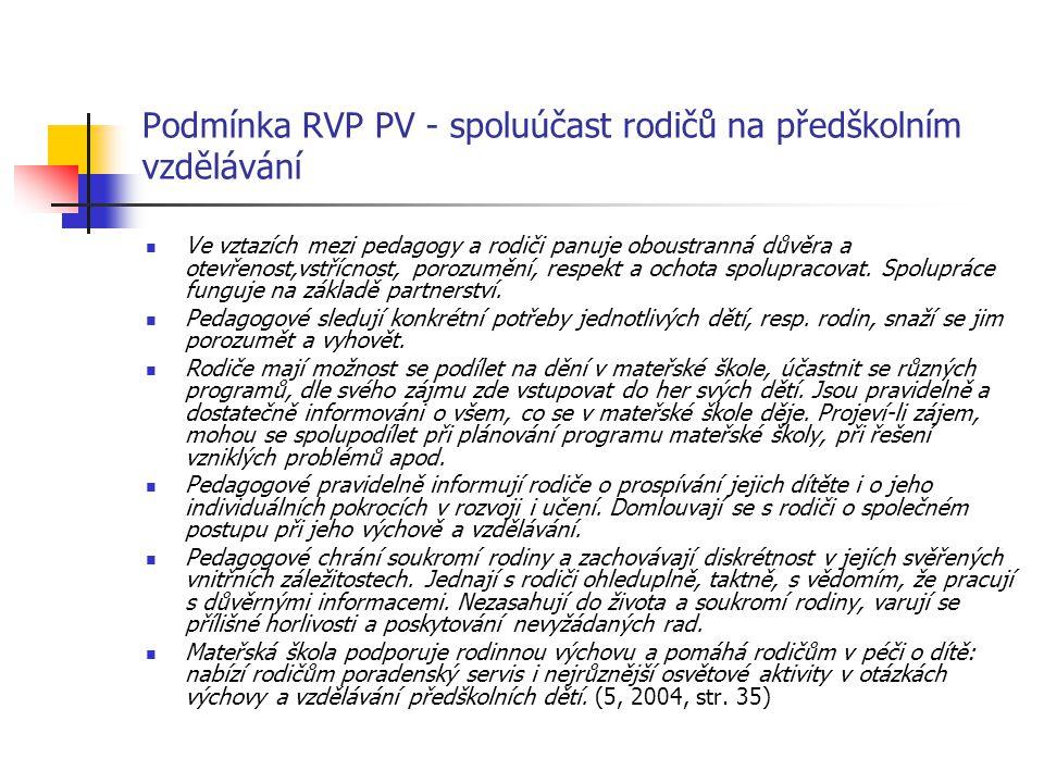 Podmínka RVP PV - spoluúčast rodičů na předškolním vzdělávání