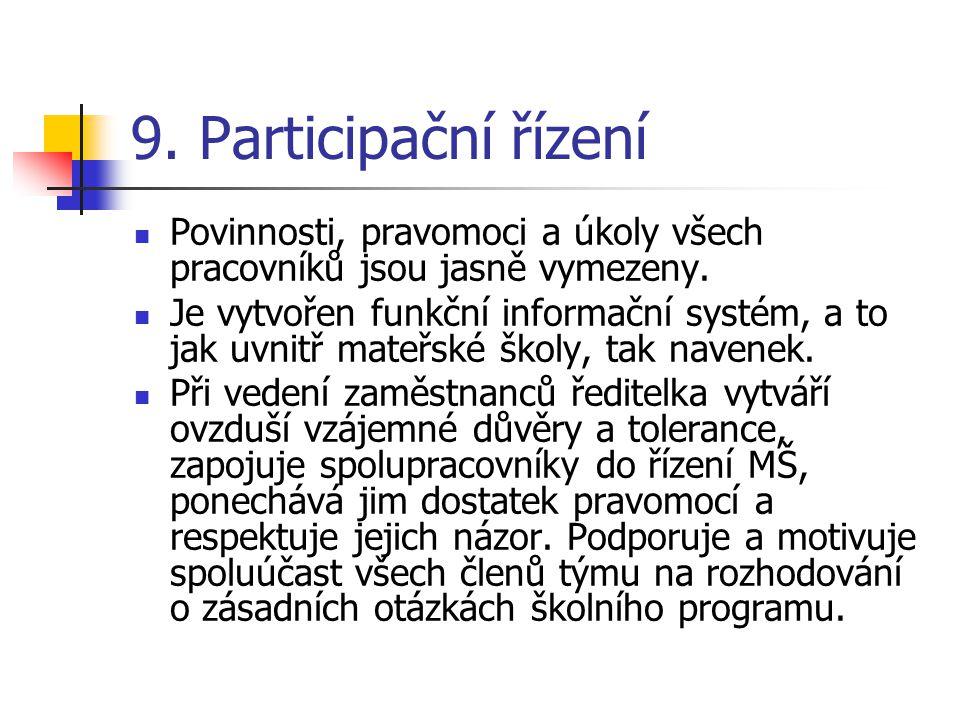 9. Participační řízení Povinnosti, pravomoci a úkoly všech pracovníků jsou jasně vymezeny.